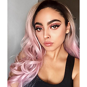 cheap Uniwigs®-Synthetic Lace Front Wig Natural Wave Style Lace Front Wig Pink Pink Synthetic Hair Women's Pink Wig Long Uniwigs Natural Wigs