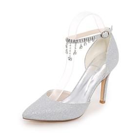 voordelige Wijdere maten schoenen-Dames bruiloft Schoenen Naaldhak Gepuntte Teen Strass / Sprankelend glitter Glitter Basispump Lente / Zomer Zwart / Goud / Zilver / Bruiloft / Feesten & Uitgaan / EU37