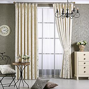ราคาถูก ผ้าม่าน-ผ้าม่านทึบแสงแบบร่วมสมัยปิดทึบห้องนั่งเล่นสองแผง jacquard