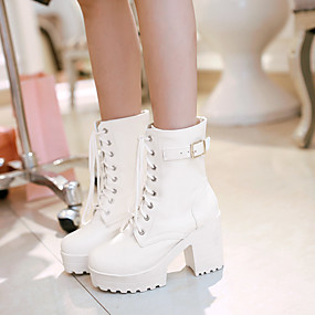 cheap Women's Boots-Women's Shoes PU(Polyurethane) Spring / Fall Comfort Boots Chunky Heel Round Toe White / Black / Brown