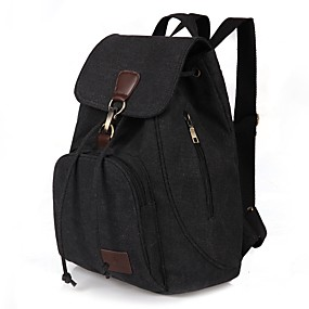 cheap Intermediate School Bags-Women's Bags Canvas Backpack for Outdoor / Traveling Blue / Black / Coffee