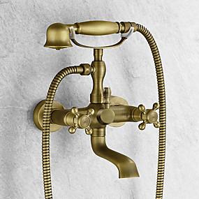 voordelige Vintage kranen-Badkraan - Antiek Antiek Koper Bad en douche Keramische ventiel Bath Shower Mixer Taps / Twee handgrepen twee gaten