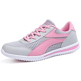 baratos Sapatos Esportivos Femininos-Mulheres Tênis Sem Salto Ponta Redonda Cadarço Tule Conforto Caminhada Primavera / Outono Preto / Rosa claro / Azul Claro