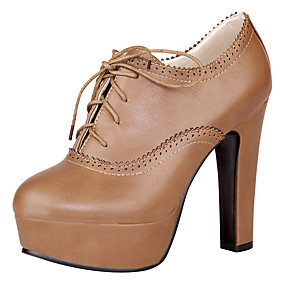 voordelige Wijdere maten schoenen-Dames Laarzen Blokhak / Plateau Gepuntte Teen Veters PU Basispump / Modieuze laarzen Lente / Zomer Zwart / Bruin / Khaki / EU36