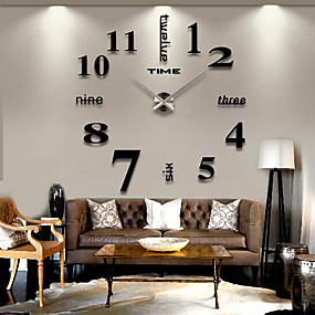 cheap sales-Frameless DIY Wall Clock, 3D Mirror Wall Clock Large Mute Wall Stickers for Living Room Bedroom Home Decoration