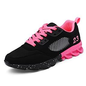 baratos Sapatos Esportivos Femininos-Mulheres Tênis Plataforma Cadarço Tule Conforto Caminhada Primavera / Outono Preto / Rosa claro / EU39