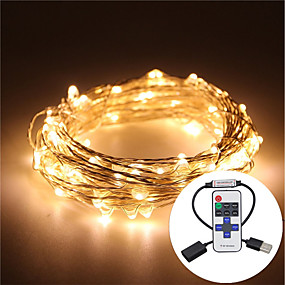 cheap LED String Lights-5m String Lights 100 LEDs Warm White / RGB / White Remote Control / RC / Dimmable / Waterproof <5 V / IP65 / Color-Changing