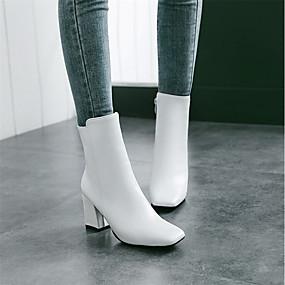 voordelige Wijdere maten schoenen-Dames Laarzen Vierkante Teen Rits Kunstleer Kuitlaarzen Modieuze laarzen Winter Wit / Zwart / Rood / EU41