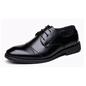 baratos Oxfords Masculinos-Homens Sapatos Confortáveis Couro Outono Negócio Oxfords Preto / Ao ar livre