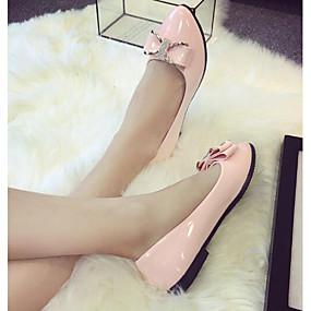 voordelige Damesschoenen met platte hak-Dames Platte schoenen Strik Lakleer Ballerina Lente / Zomer Zwart / Roze / Amandel / EU39