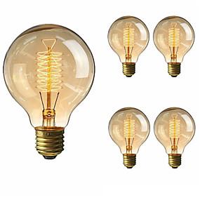 billige Glødelampe-5pcs 40 W E26 / E27 G80 Varm hvit 2200-2700 k Kontor / Bedrift / Mulighet for demping / Dekorativ Glødende Vintage Edison lyspære 220-240