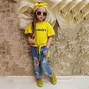 cheap Daily Deals-Toddler Girls' Solid Colored Short Sleeve Regular Regular Cotton Clothing Set Yellow