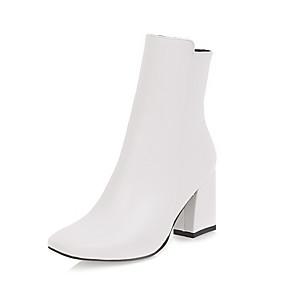 abordables Bottes Tendance-Femme Bottes Bout carré Fermeture Similicuir Bottes Mi-mollet Bottes à la Mode Hiver Blanc / Noir / Rouge / EU41