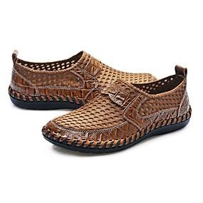 baratos Sapatilhas e Mocassins Masculinos-Homens Sapatos Confortáveis Tule / Couro Ecológico Primavera / Outono Mocassins e Slip-Ons Preto / Verde Escuro / Azul