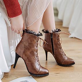 billige Mote Boots-Dame Støvler Snøring Spisstå Blondesøm Kunstlær Ankelstøvler Komfort / Trendy støvler Vår / Høst Svart / Grå / Brun