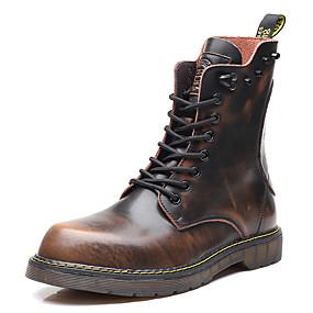 voordelige Wijdere maten schoenen-Heren Motorlaarzen Leer Herfst / Winter Laarzen Korte laarsjes / Enkellaarsjes Zwart / Bruin / Grijs / Siernagel / Combinatie / ulko-