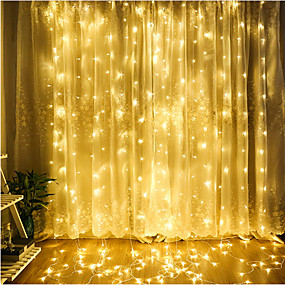 cheap 80% OFF-ZDM 1PC LED Curtain Lamp String 3*3 m 300 led Christmas Outdoor Waterproof Festival Wedding Decorative Curtain Multicolor/ Warm White/Cold White/Blue EU AC220V / US AC110V