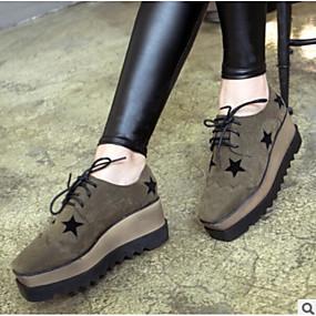 رخيصةأون أحذية أوكسفورد نسائي-نسائي أوكسفورد كعب مسطخ حذاء يغطي أصبع القدم PU مريح الشتاء أسود / أخضر داكن