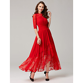 426ea22fc37a Γραμμή Α Illusion Seckline Ασύμμετρο Σιφόν   Δαντέλα κορδόνι Χοροεσπερίδα  Φόρεμα με Δαντέλα   Ζώνη   Κορδέλα   Πλισέ με TS Couture®   Ψευδαίσθηση