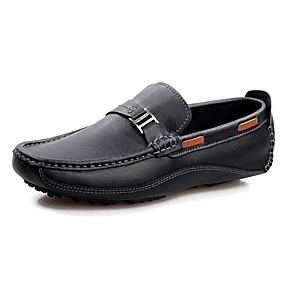baratos Sapatos Náuticos Masculinos-Homens Sapatos Confortáveis Couro Primavera / Outono Sapatos de Barco Preto / Azul / Marron