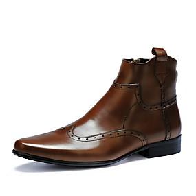 baratos Botas Masculinas-Homens Fashion Boots Pele Outono / Inverno Formais Botas Botas Cano Médio Preto / Marron / Ao ar livre / Coturnos
