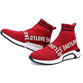 baratos Sapatos Esportivos Femininos-Mulheres Tênis Sem Salto Ponta Redonda Tecido / Couro Ecológico Conforto Corrida Primavera / Outono Preto / Vermelho / EU39