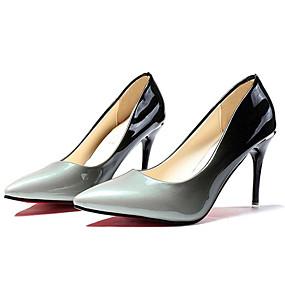 abordables Escarpins-Femme Escarpins Talon haut Bout pointu Polyuréthane Confort Printemps / Automne Gris / Rouge / Bloc de Couleur / EU39