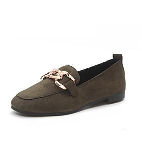 voordelige Damesinstappers & loafers-Dames Schoenen PU Lente / Herfst Mocassin Loafers & Slip-Ons Ronde Teen Zwart / Leger Groen / Roze