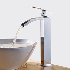 abordables Offres de la Semaine-Robinet lavabo - Jet pluie / Séparé Chrome Set de centre Mitigeur un trouBath Taps / Laiton