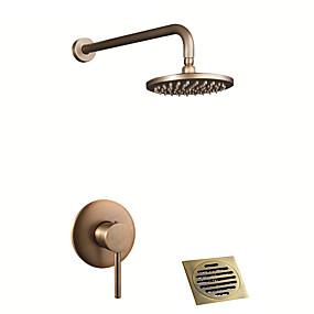baratos Torneiras-Torneira de Chuveiro - Clássica / Regional Latão Antiquado / Cobre Envelhecido Sistema do Chuveiro Válvula Cerâmica Bath Shower Mixer Taps / Monocomando Três Buracos