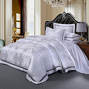 cheap High Quality Duvet Covers-Duvet Cover Sets Luxury 4 Piece Silk/Cotton Blend Jacquard Silk/Cotton Blend 1pc Duvet Cover 2pcs Shams 1pc Flat Sheet