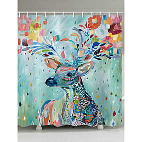 hesapli Duş Perdeleri-Shower Curtains & Hooks Ülke Polyester Hayvan Makine Yapımı Su Geçirmez
