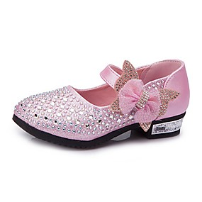 baratos Kids' Shoes Promotion-Para Meninas Courino Saltos Little Kids (4-7 anos) / Big Kids (7 anos +) Conforto / Sapatos para Daminhas de Honra Pedrarias / Laço / Gliter com Brilho Prateado / Azul / Rosa claro Primavera / Outono