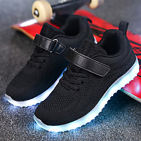 cheap Shoes & Bags-Boys' / Girls' Shoes Knit / Net Spring / Fall Comfort / Light Up Shoes Walking Shoes Lace-up / Hook & Loop / LED for Gray / Blue / Pink