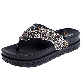22cd7fa7050a Women s PU(Polyurethane) Spring Comfort Slippers   Flip-Flops Creepers  Round Toe Rhinestone Gold   Black   Silver