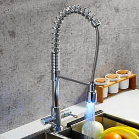 billige Uttrekkbar Spray-Kjøkken Kran - To Håndtak et hull Krom Uttrekkbar / standard Tut / Høy Bue Centersat Moderne Kitchen Taps