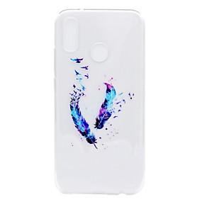 levne Pouzdra telefonu-Carcasă Pro Huawei P20 lite / P8 Lite (2017) Průhledné / Vzor Zadní kryt Peří Měkké TPU pro Huawei P20 / Huawei P20 Pro / Huawei P20 lite / P10 Plus / P10 Lite / P10