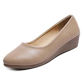 voordelige Damesschoenen met platte hak-Dames Platte schoenen Platte hak Ronde Teen Nappaleer Comfortabel Lente / Herfst Zwart / Beige / Khaki / EU39