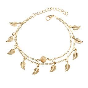 baratos Pulseira de Charme-Mulheres Pulseiras com Pendentes Formato de Folha senhoras Fashion Liga Pulseira de jóias Dourado / Prata Para Diário Para Noite