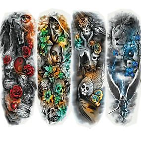 economico Tatuaggi temporanei-4 pcs Tatuaggi adesivi Tatuaggi temporanei Serie di cartoni animati arti del corpo braccio