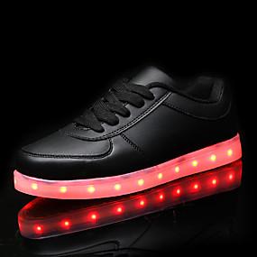voordelige Damessneakers-Heren / Dames Sneakers LED schoenen Platte hak LED PU Comfortabel / Oplichtende schoenen Lente / Herfst Wit / Zwart / EU40