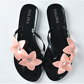 5246f0f05e95a9 Women s Shoes Tulle   PVC(Polyvinyl chloride) Summer Comfort Slippers   Flip -Flops Flat Heel White   Black   Pink