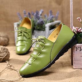 voordelige Damesinstappers & loafers-Dames Platte schoenen Platte hak Leer Mocassin Lente / Zomer Oranje / Groen / Blauw / EU39