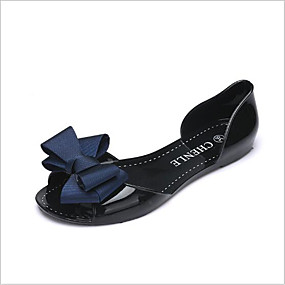 voordelige Damesschoenen met platte hak-Dames Platte schoenen Platte hak Open teen  PVC Leder / Kunstleer Comfortabel Zomer Rood / Blauw / Amandel