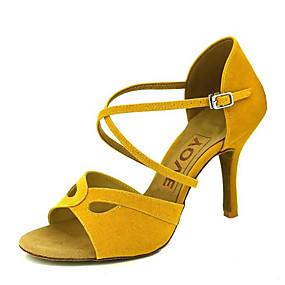 voordelige Wijdere maten schoenen-Dames Dansschoenen Fluweel Latin dansschoenen / Salsa dansschoenen Gesp / Gestrikt lint Sandalen / Hakken Speciale hak Aanpasbaar Zwart / Geel / Rood / Prestatie / Leer / Professioneel / EU39