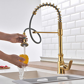 cheap Kitchen Faucets-Kitchen faucet - Single Handle One Hole Ti-PVD Standard Spout Centerset Contemporary Kitchen Taps / Brass