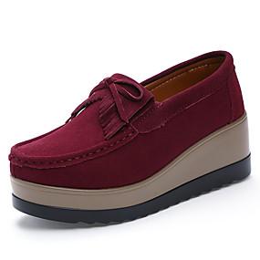 olcso Női topánkák és vászoncipők-Női Papucsok & Balerinacipők Tipegők Fordított bőr Kényelmes Ősz Barna / Katonai zöld / Bor / Party és Estélyi