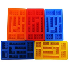 cheap Ice Tools-Bakeware tools Silicone DIY For Chocolate For Ice Ice Cream Robot Toy Bricks Tray Cake Molds 1pc