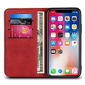 billige iPhone-etuier-Etui Til Apple iPhone X / iPhone 8 Plus Pung / Kortholder / Flip Fuldt etui Ensfarvet Hårdt PU Læder for iPhone X / iPhone 8 Plus / iPhone 8