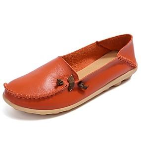 voordelige Damesinstappers & loafers-Dames Loafers & Slip-Ons Platte hak Ronde Teen Leer Mocassin Lente / Zomer Zwart / Groen / Wit / EU41